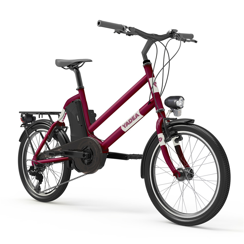 YADEA YT300 20 inch Touring Electric City Bike 350W OKAWA Mid Drive Motor SHIMANO 7-Speed Rear Derailleur 36V 7.8Ah Removable Battery 25km/h Max speed up to 60km Max Range LED Headlight - Red