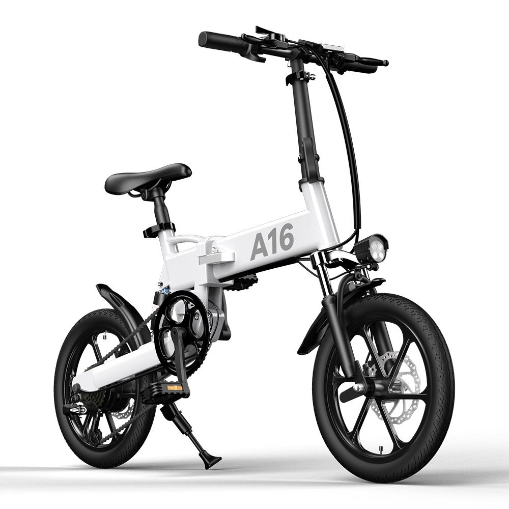 ADO A16 Vélo électrique pliant 16 pouces Vélo de ville 350W Hall Moteur Brushless SHIMANO Dérailleur arrière à 7 vitesses 36V 7.8Ah Batterie amovible 35km/h Vitesse maximale jusqu'à 35km Portée maximale IPX5 Double absorption des chocs Cadre en alliage d'aluminium 16*1.95 Pneus - Blanc