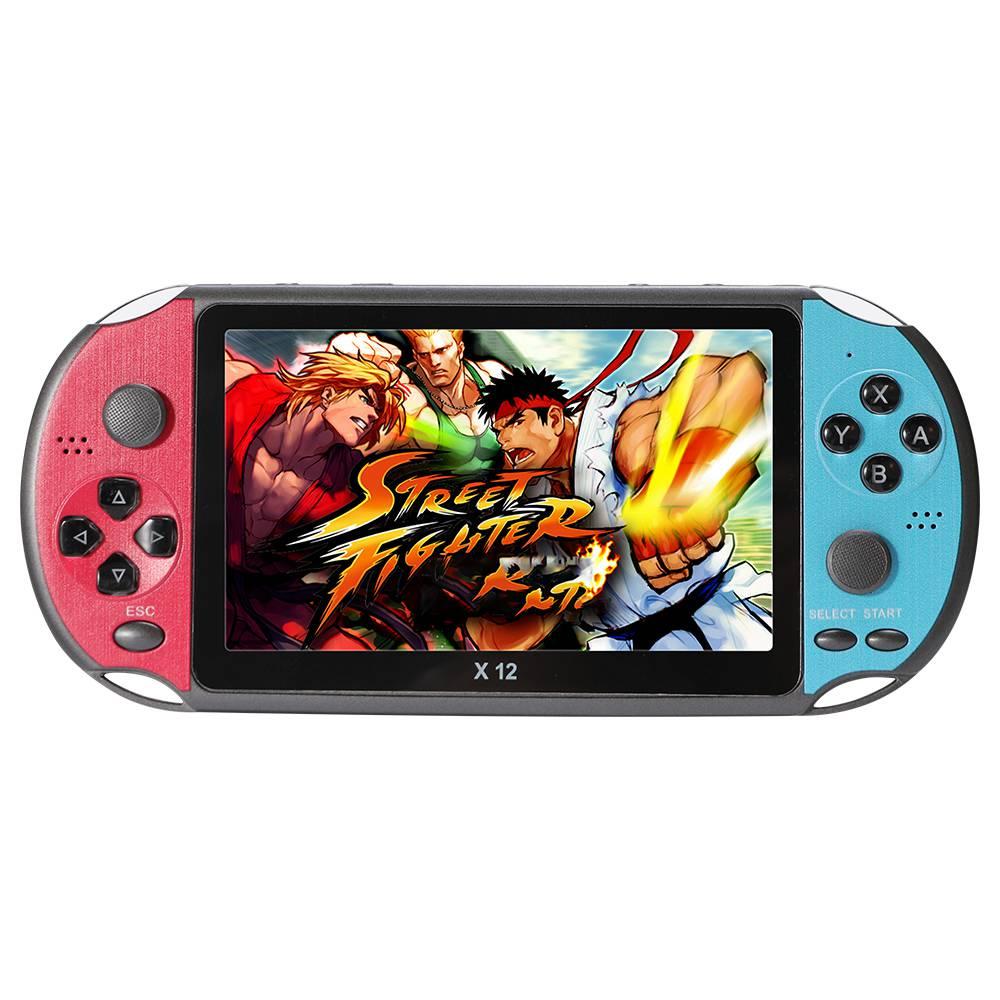 X12 5.1 hüvelykes, 8 GB-os kézi játékkonzol, kettős joystick 1500 játék, előre feltöltött tévékimenet - piros + kék