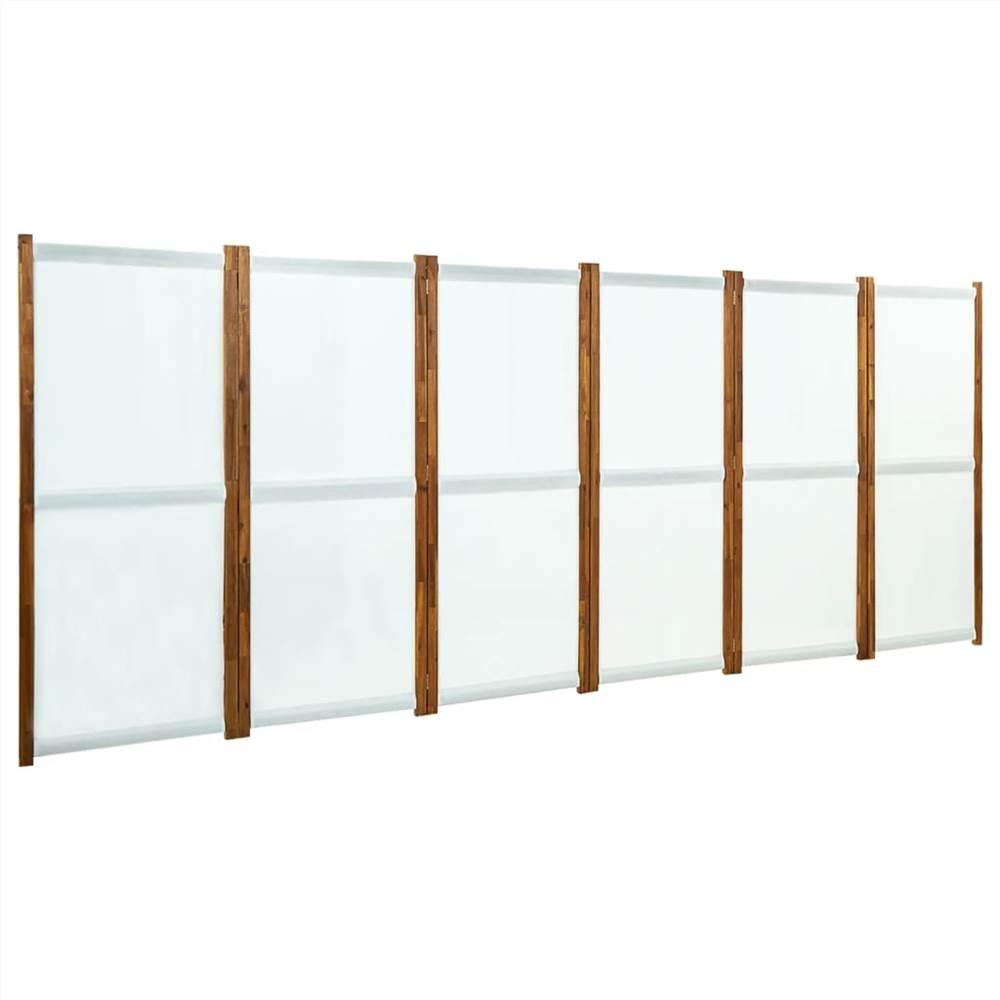 6-Panel Room Divider Cream White 420x170 cm