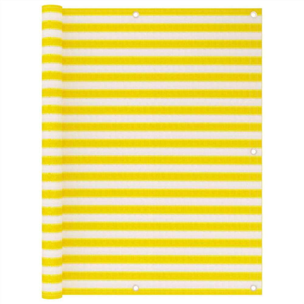 Balcony Screen Yellow and White 120x600 cm HDPE