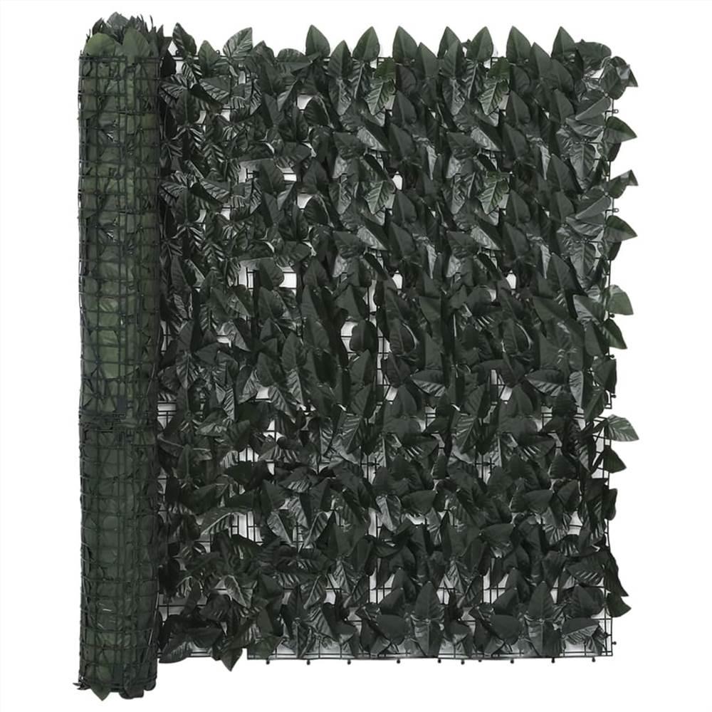 Balcony Screen with Dark Green Leaves 300x100 cm