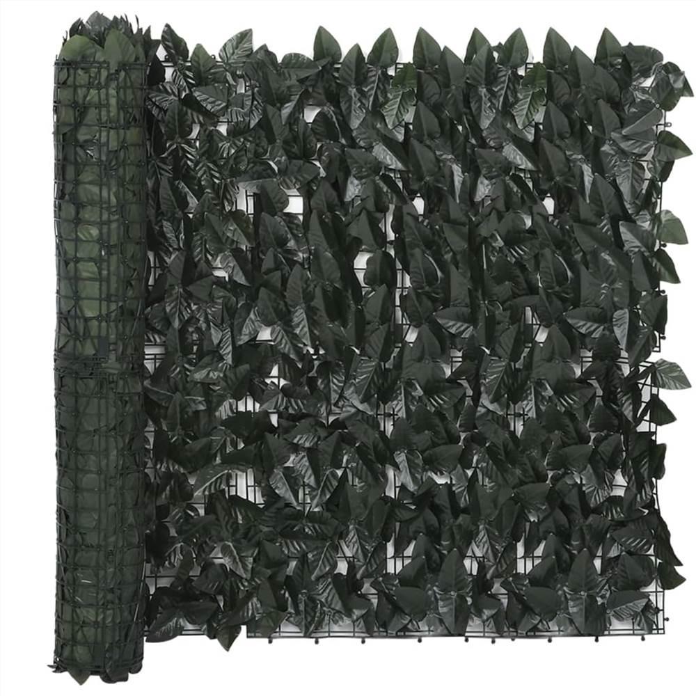 Balcony Screen with Dark Green Leaves 500x75 cm
