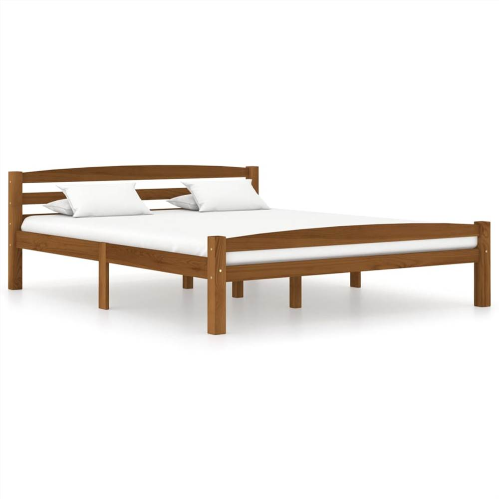 Bed Frame Honey Brown Solid Pinewood 160x200 cm