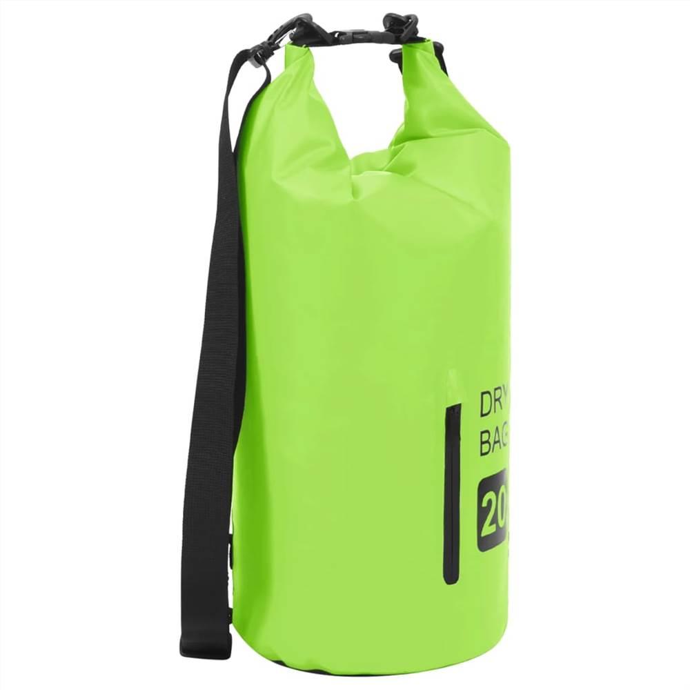 Сухой мешок на молнии зеленый 20 л ПВХ