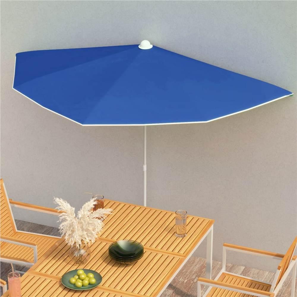 Garden Half Parasol with Pole 180x90 cm Azure Blue