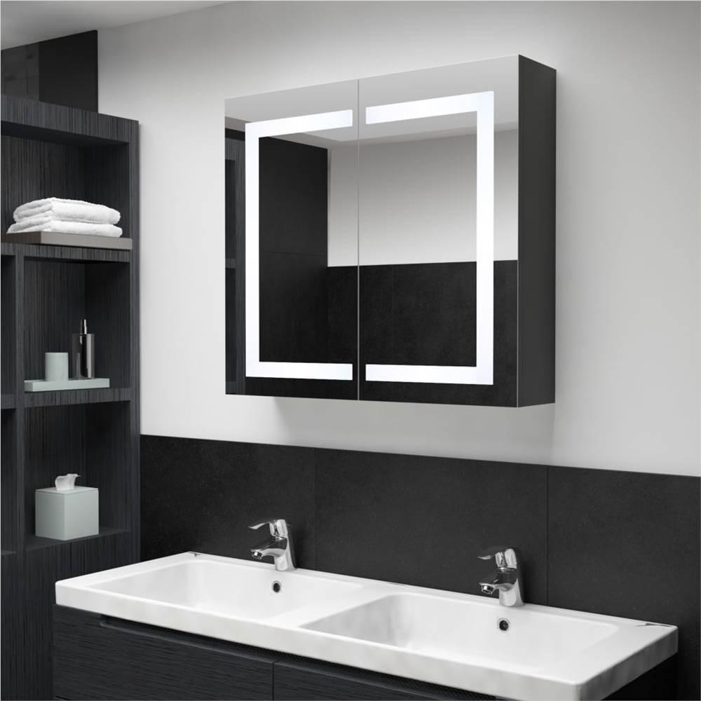 Armário de espelho de banheiro de LED 80x12.2x68 cm