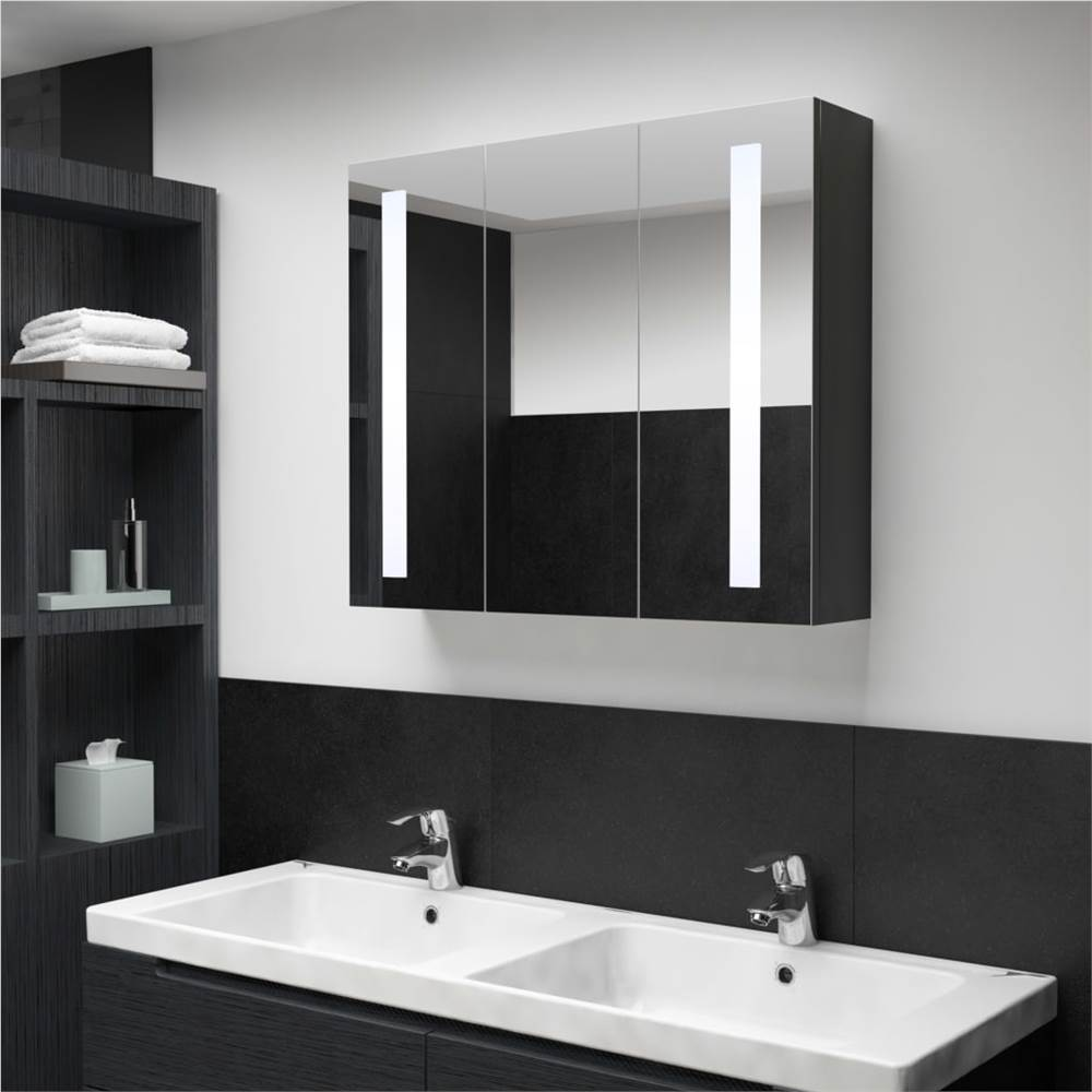 Armário de espelho de banheiro de LED 89x14x62 cm