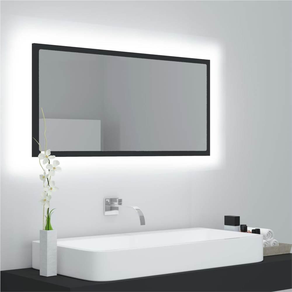 LED Bathroom Mirror Grey 90x8.5x37 cm Chipboard