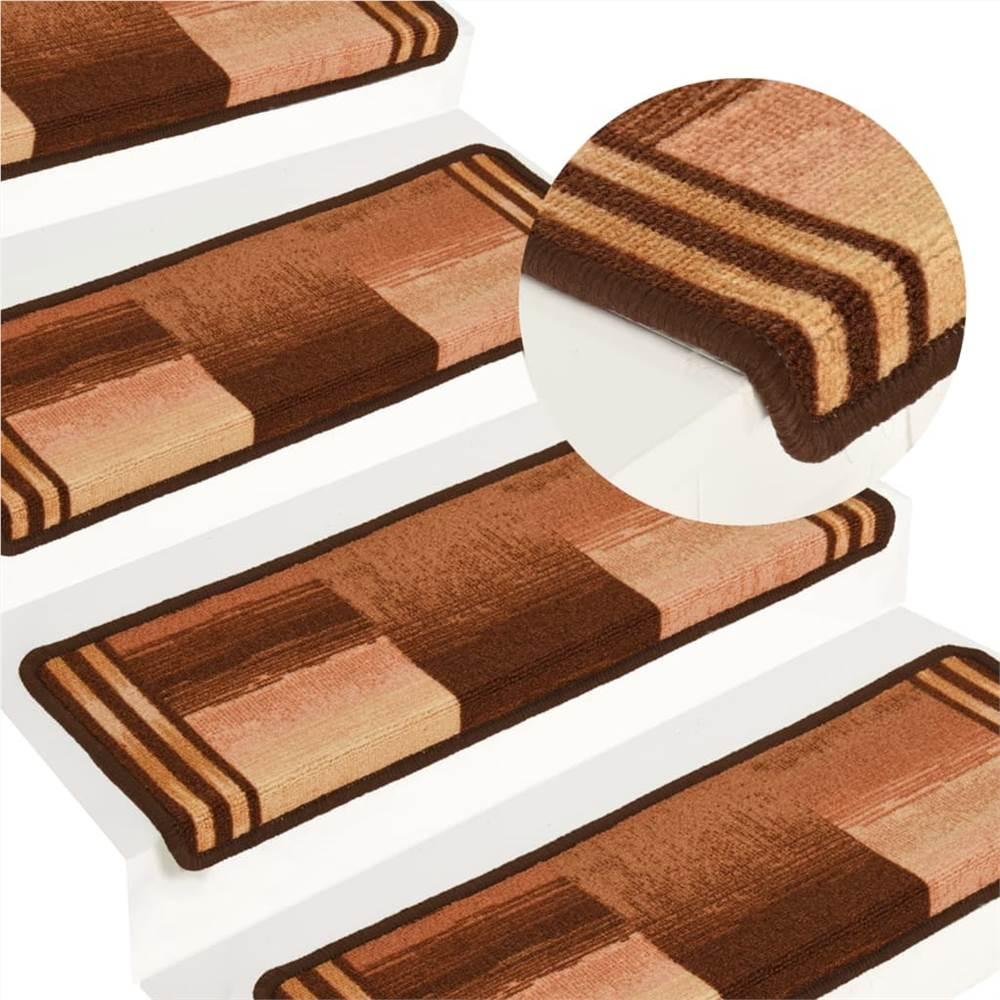 Self-adhesive Stair Mats 15 pcs 65x25 cm Brown