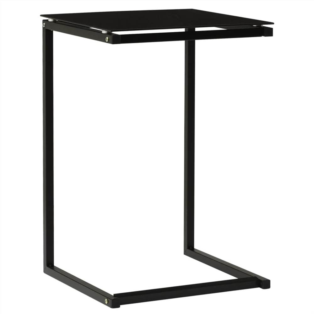 Side Table Black 40x40x60 cm Tempered Glass