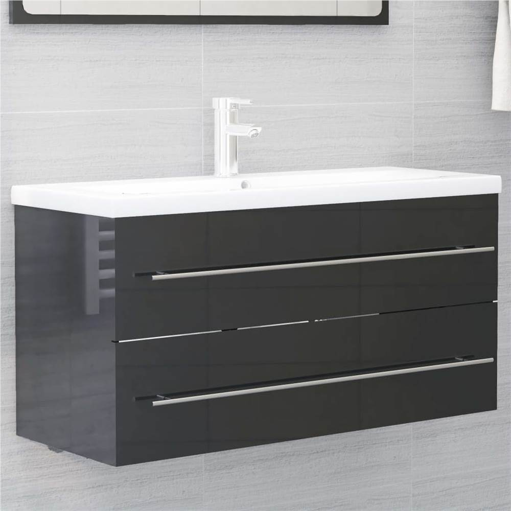 Sink Cabinet High Gloss Grey 100x38.5x48 cm Chipboard