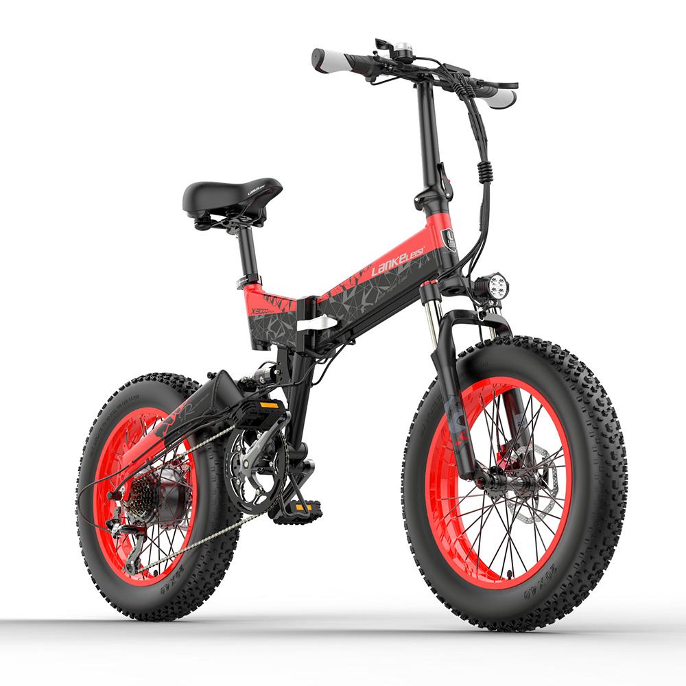 LANKELEISI X3000 PLUS Складной электрический велосипед 48V 1000W Мотор 10.4Ah Аккумулятор 26x4.0 Шины Рама из алюминиевого сплава Гидравлический дисковый тормоз Shimano 7-скоростной переключатель Макс.скорость 46 км / ч 90 км Диапазон пробега 3 режима езды - черный красный