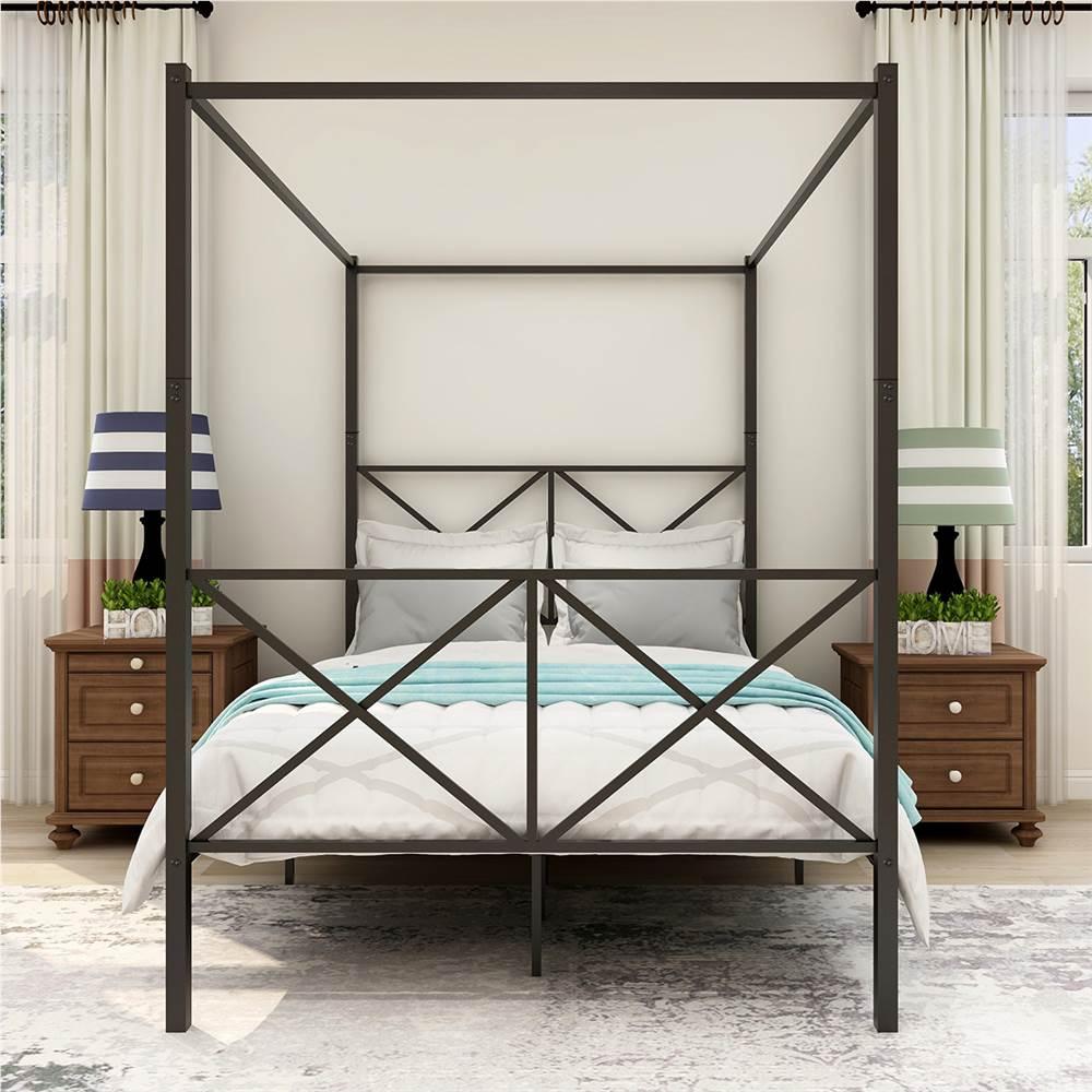 Cadre de lit plate-forme en métal à baldaquin pleine grandeur avec 4 piliers, tête de lit et support à lattes en métal, aucun sommier requis (cadre uniquement) - Noir