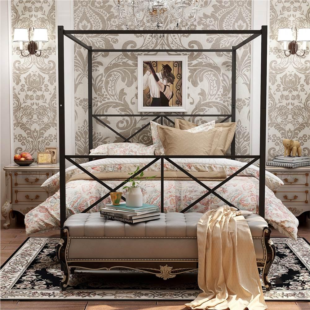 Cadre de lit plate-forme en métal à baldaquin Queen-Size avec 4 piliers, tête de lit et support à lattes en métal, aucun sommier requis (cadre uniquement) - Noir