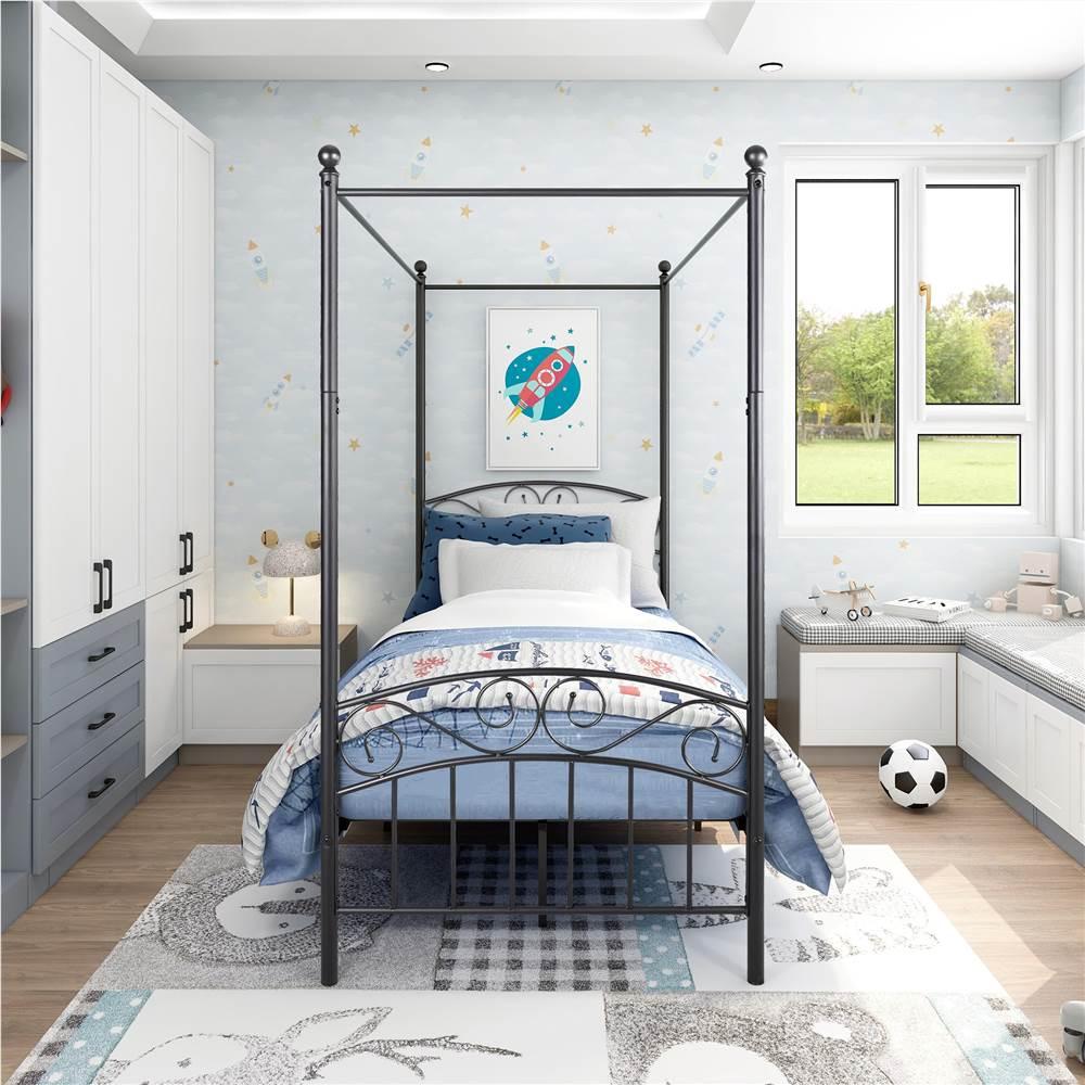 Cadre de lit plate-forme en métal à baldaquin double avec 4 piliers, tête de lit et support à lattes en métal, aucun sommier nécessaire (cadre uniquement) - Noir