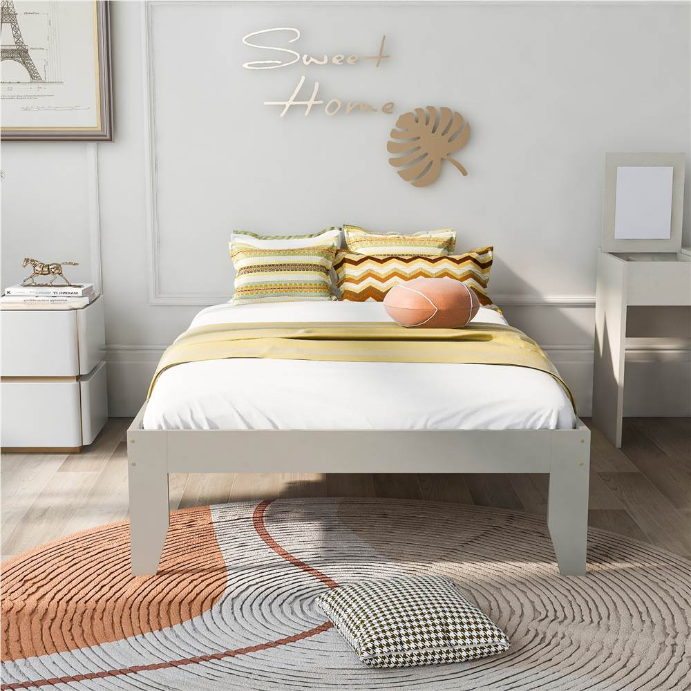 Twin-Size Platform Bed Frame with Wooden Slats Support, No Box Spring Needed (Only Frame) - Gray