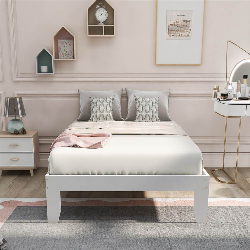 Twin-Size Platform Bed Frame with Wooden Slats Support, No Box Spring Needed (Only Frame) - White