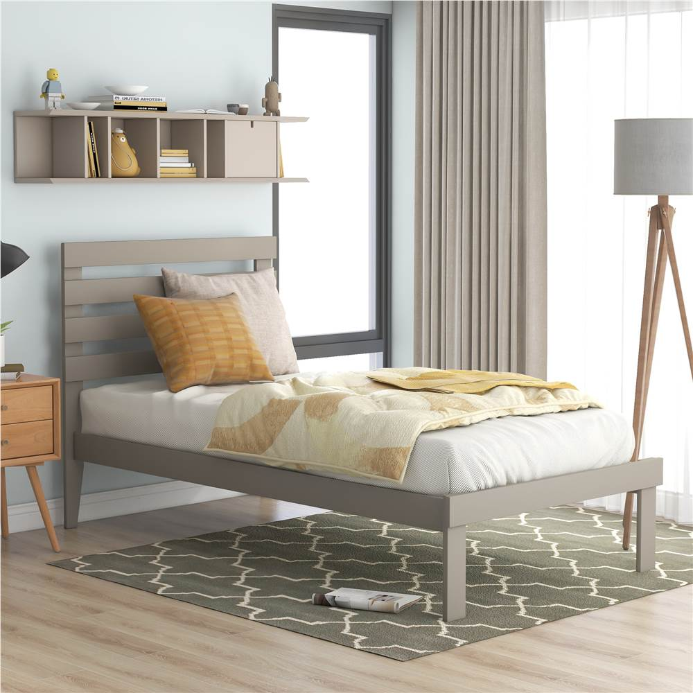 Twin-Size Platform Bed Frame with Headboard and Wooden Slats Support, No Box Spring Needed (Only Frame) - Gray
