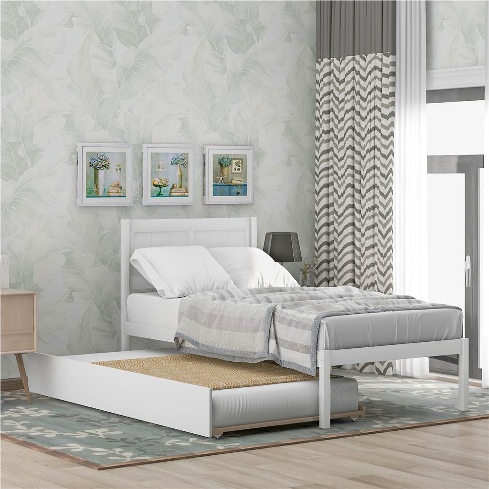 Twin-Size Platform Bed Frame with Trundle Bed, Headboard and Wooden Slats Support, No Box Spring Needed (Only Frame) - White