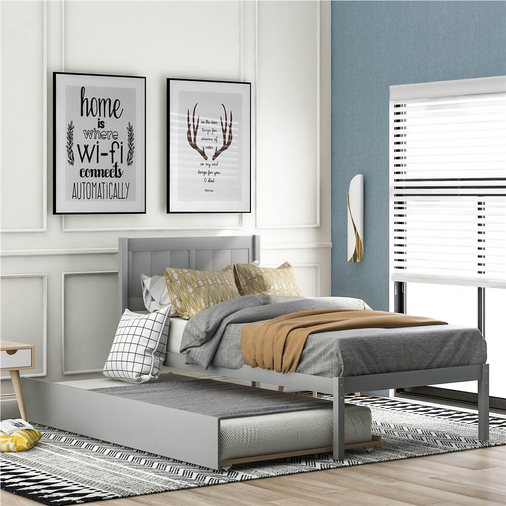 Twin-Size Platform Bed Frame with Trundle Bed, Headboard and Wooden Slats Support, No Box Spring Needed (Only Frame) - Gray