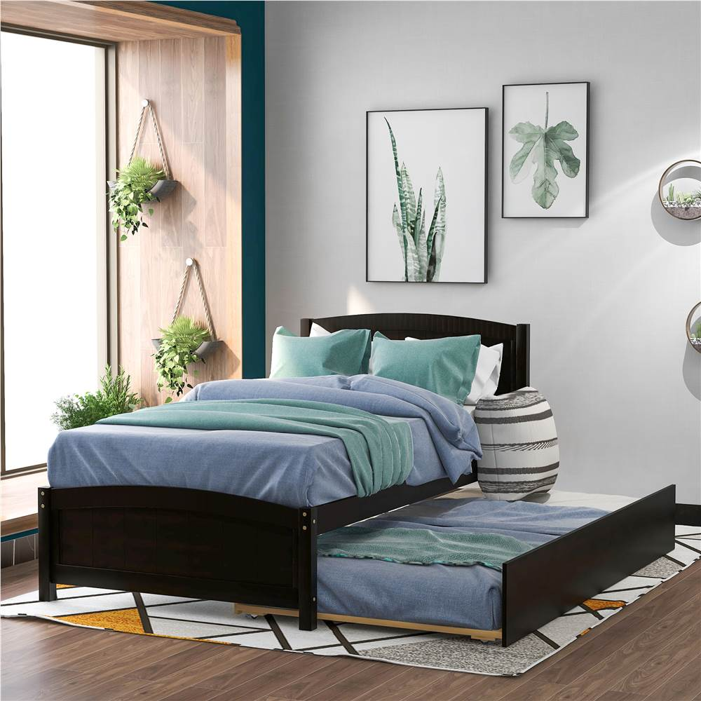 Twin-Size Platform Bed Frame with Trundle Bed, Headboard, and Wooden Slats Support, No Box Spring Needed (Only Frame) - Espresso