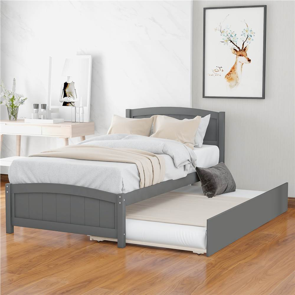 Twin-Size Platform Bed Frame with Trundle Bed, Headboard, and Wooden Slats Support, No Box Spring Needed (Only Frame) - Gray