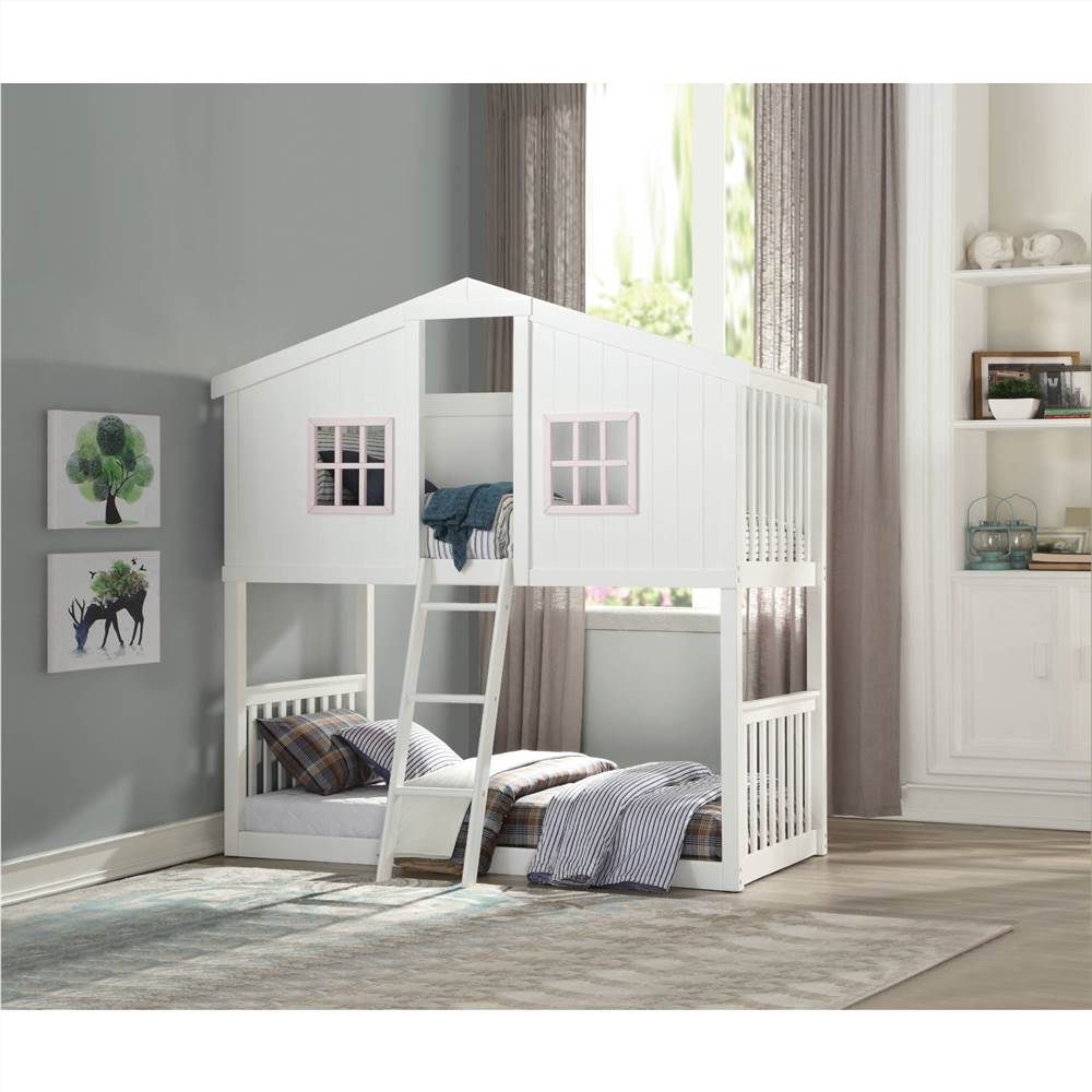 ACME Rohan Twin-Over-Twin Size House-Shaped Bunk Bed Frame with Ladder, and Wooden Slats Support, No Spring Box Required (Frame Only) - White