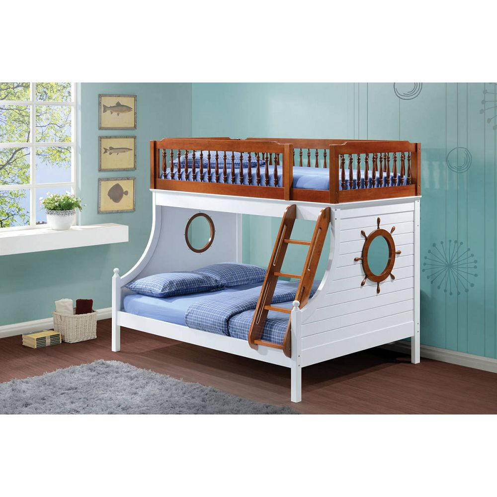 ACME Farah Twin-Over-Full Size Bunk Bed Frame with Ladder, and Wooden Slats Support, No Spring Box Required (Frame Only) - Oak + White