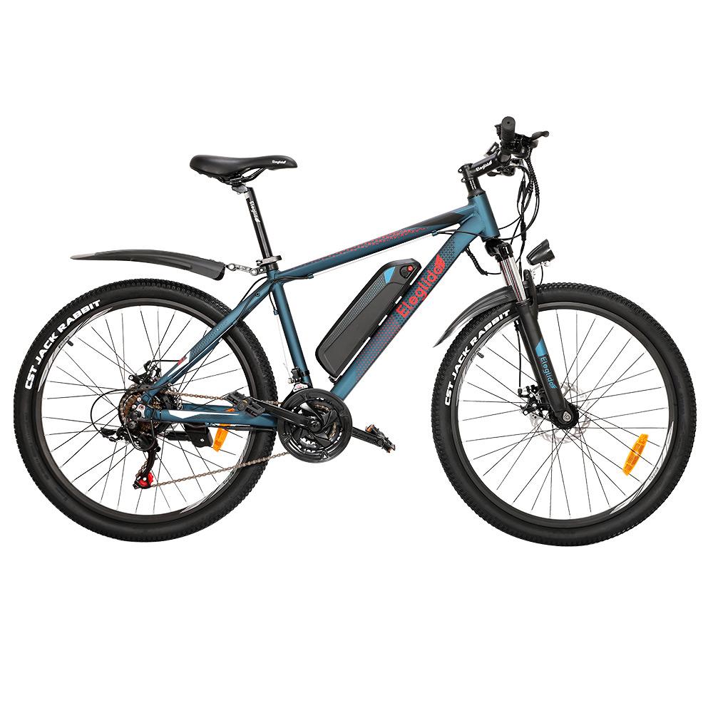 ELEGLIDEM1電動自転車26インチマウンテンアーバン自転車250WホールブラシレスモーターSHIMANOシフター21スピード36V7.5Ahリムーバブルバッテリー25km / h最大速度最大65km最大範囲IPX4防水アルミニウム合金フレームデュアルディスクブレーキ-ダークブルー