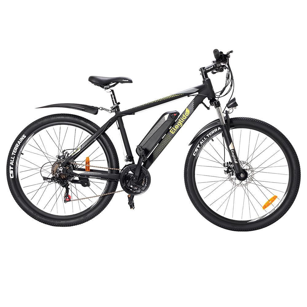 ELEGLIDE M1 PLUS elektromos kerékpár 27.5 hüvelykes hegyi városi kerékpár 250W Hall kefe nélküli motor SHIMANO Shifter 21 sebesség 36V 12.5Ah cserélhető akkumulátor 25km / h Max sebesség akár 100km Max hatótávolság IPX4 vízálló alumíniumötvözet váz kettős lemezfék - fekete