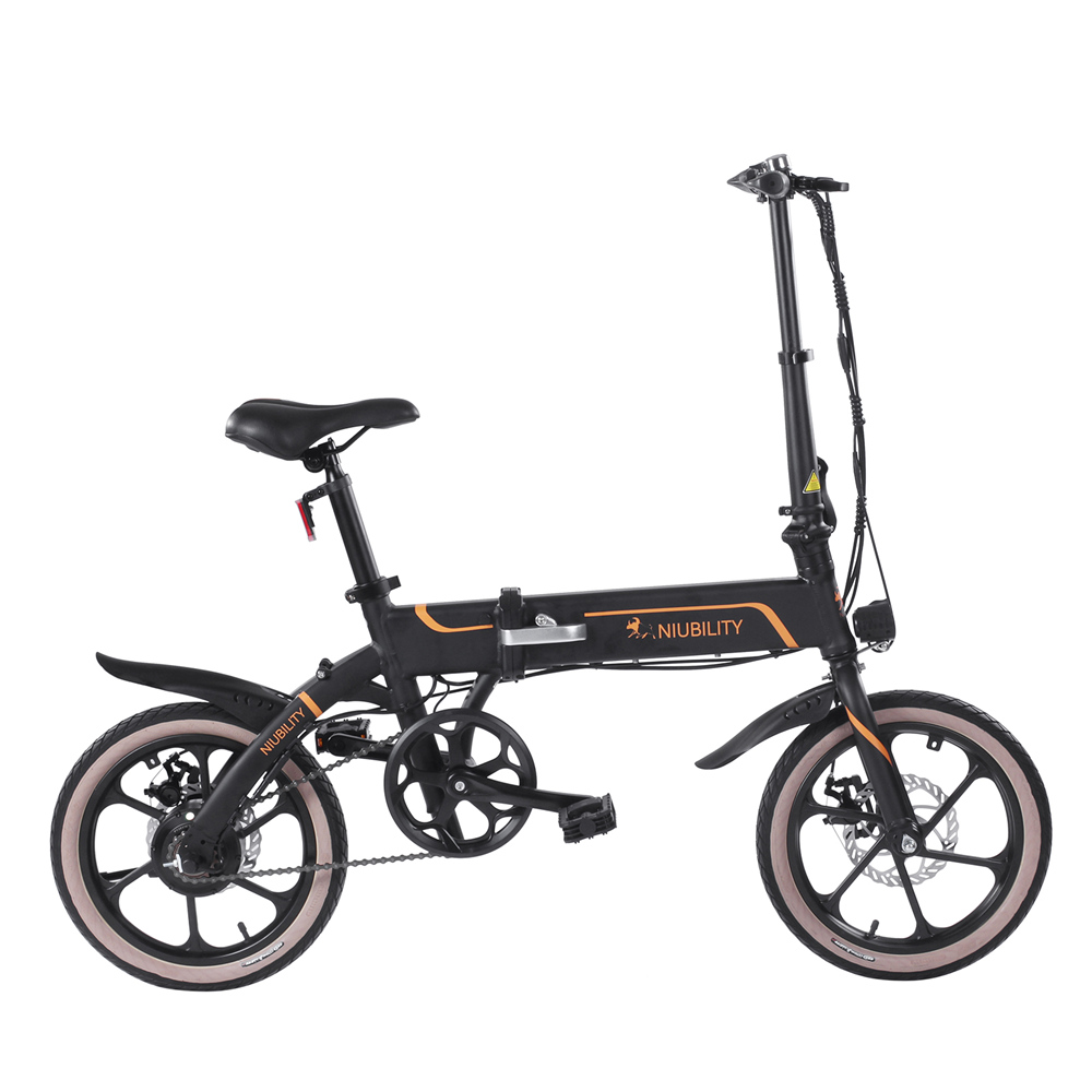 NIUBILITY B16 Electric Moped Folding Bike 16 inch 42V 10.4Ah Battery 40km -50km Mileage 350W Motor Max 25km/h  Double Disc Brake Variable Speed System LED Light KMC Chain - Black