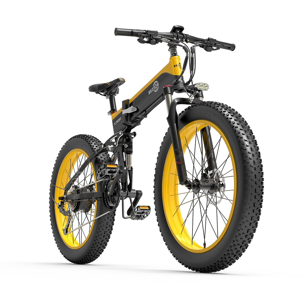 BEZIOR X500 Fat Tire Folding Electric Mountain Bike 12.8Ah Removable Battery BMS 500W Brushless Motor 26*4.0 Wheels Aluminum Alloy Frame Shimano 27-speed Shifter Max Speed 35km/h 100KM Power-assisted Range IP54 Oil Disc Brake - Black Yellow