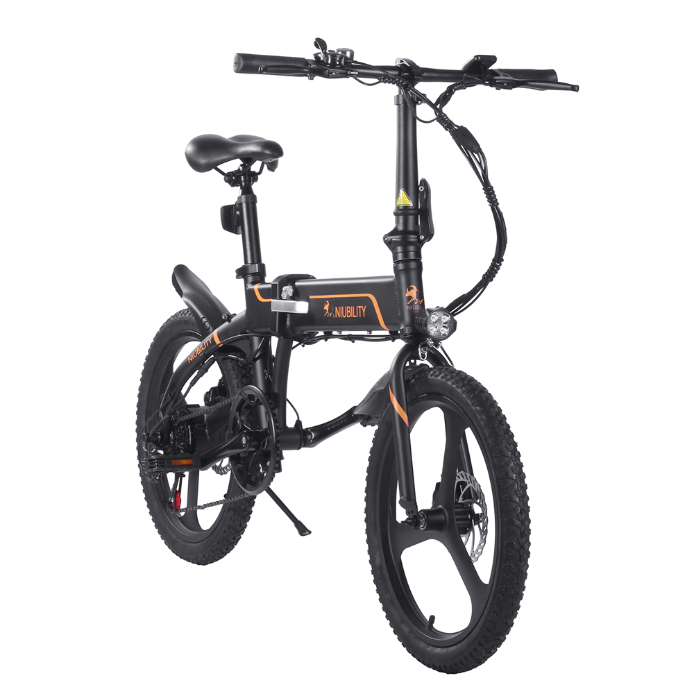 NIUBILITY B20 Electric Moped Folding Bike 20 inch 42V 10.4Ah Battery 40km -50km Mileage 350W Motor Max 25km/h  Double Disc Brake Variable Speed System SHIMANO 6-Speed rear derailleur LED Light KMC Chain - Black