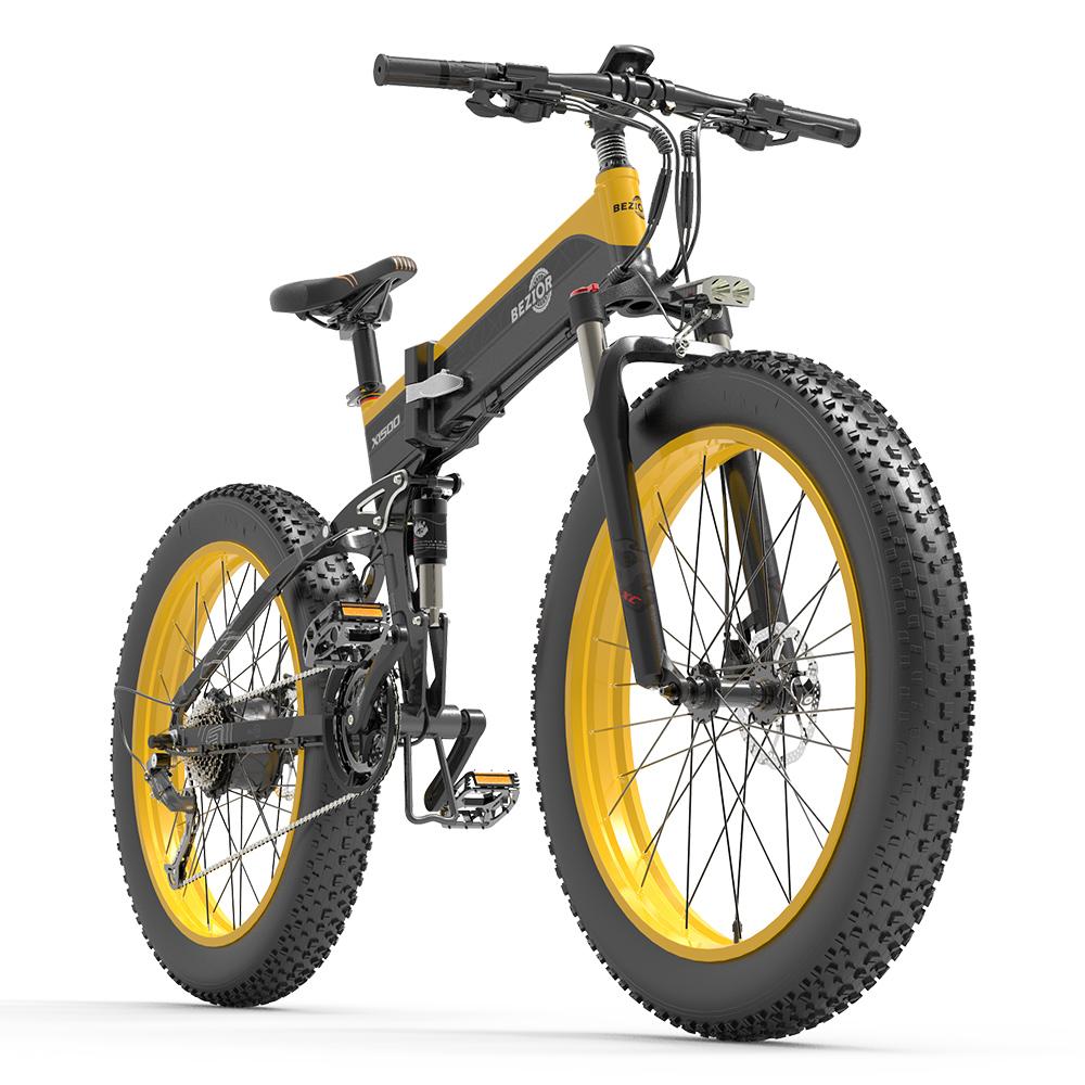 BEZIOR X1500 Fat Tire Folding Electric Mountain Bike 12.8 Ah Panasonic Batterie BMS 1500 W Motor 26 * 4.0 Räder Aluminiumlegierung Rahmen Shimano 27-Gang-Schalthebel Höchstgeschwindigkeit 40 km / h 100 km Servounterstützte Reichweite IP54 Ölscheibenbremse MTB - Schwarz Gelb