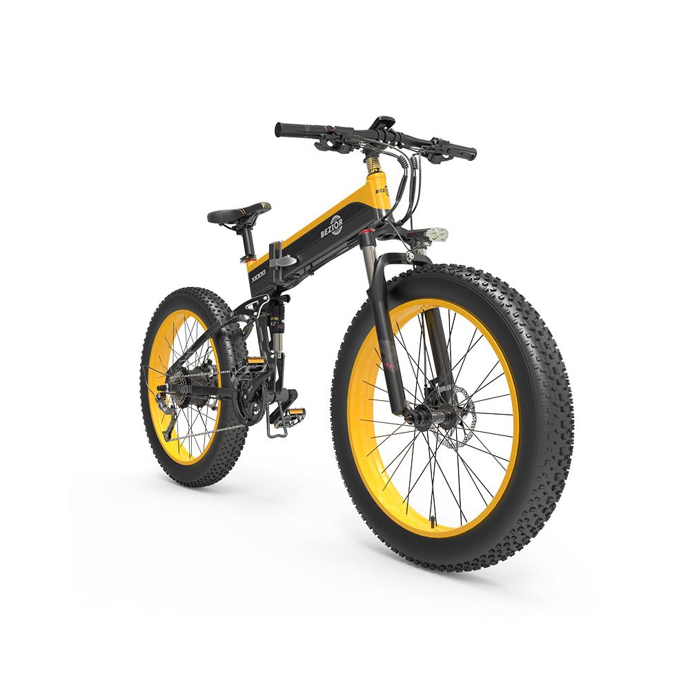 BEZIOR X1000 Bicicleta elétrica dobrável Panasonic 48V 12.8Ah Bateria 1000W Motor 26 polegadas Fat Pneu Estrutura em liga de alumínio Shimano 27 velocidades Shift Velocidade máxima 40km / h IP54 100KM Potência assistida quilometragem Faixa LCD Display IP54 à prova d'água - Preto Amarelo