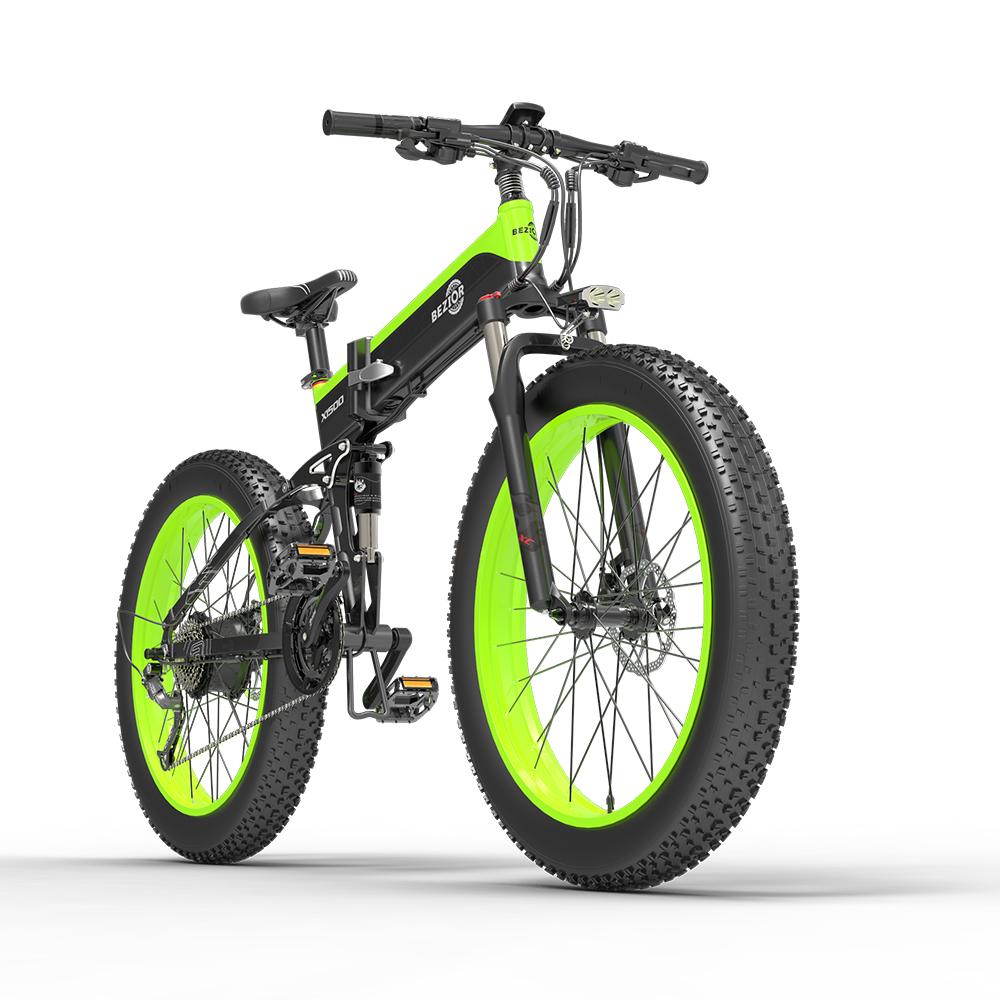 BEZIOR X1500 ยางไขมันพับจักรยานเสือภูเขาไฟฟ้า 12.8Ah แบตเตอรี่พานาโซนิค BMS 1500W มอเตอร์ 26 * 4.0 ล้ออลูมิเนียมอัลลอยด์เฟรม Shimano 27-speed Shifter ความเร็วสูงสุด 40km / h 100KM Power-assisted Range IP54 ดิสก์เบรกน้ำมัน MTB - สีดำสีเขียว