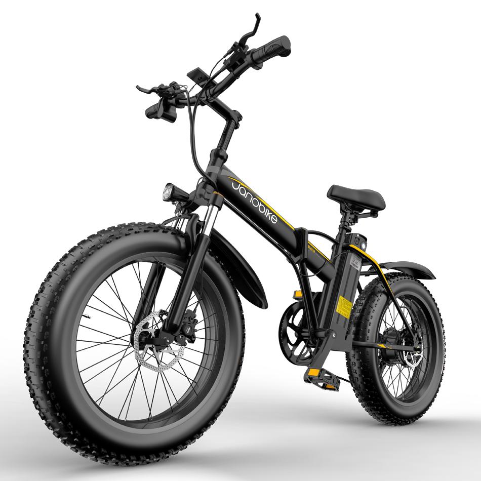"JANOBIKE E20 Fat Tire Electric Folding Mountain Bike Removable 1000W Brushless Motor Aluminium Alloy Frame 7 Gear Speed 50km / h Panasonic 48V 12.8Ah Battery to 60-70km Range 20 ""x 4.0 Snow Tire XOD Hydraulic Brake Smart Meter - Μαύρο"