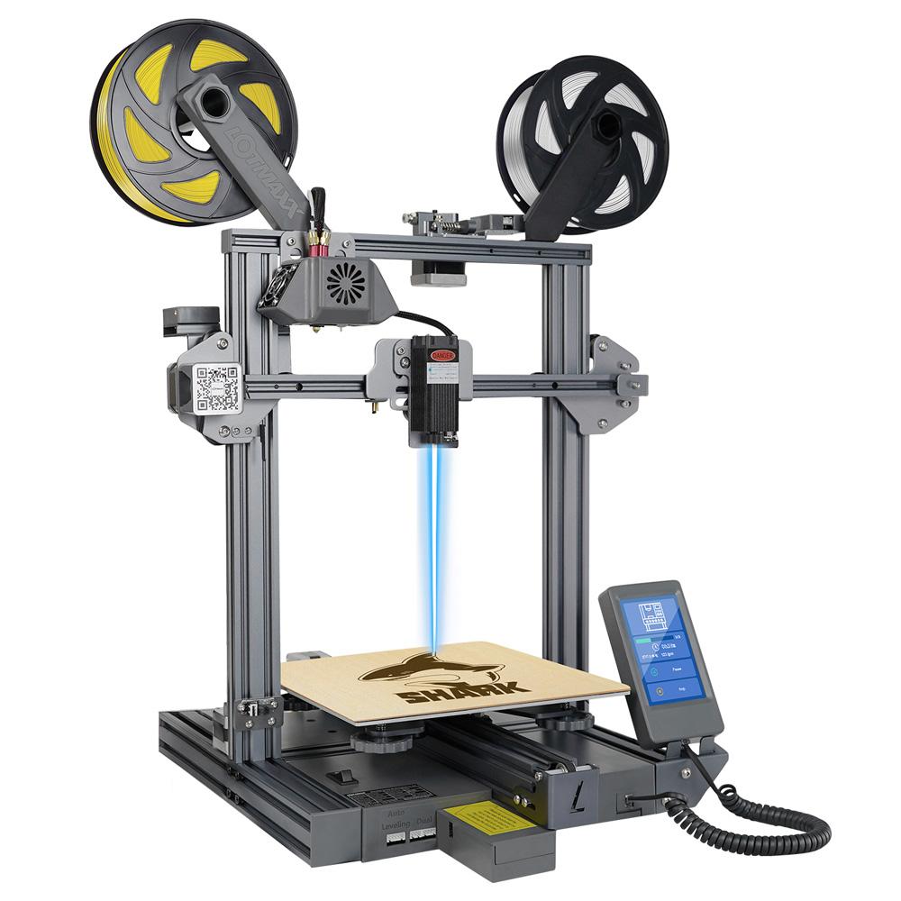 Εκτυπωτής LOTMAXX Shark V2 3D, Διπλός εξωθητής, Χαρακτική με λέιζερ, Εκτύπωση διπλού χρώματος - Γκρι