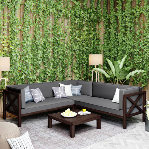 TOPMAX 4 Pieces Outdoor Wooden Furniture Set, Including Right-side Armchair, Left-side Armchair, Corner Chair, Coffee Table, and 3 Cushions, for Garden, Terrace, Porch, Poolside - Gray