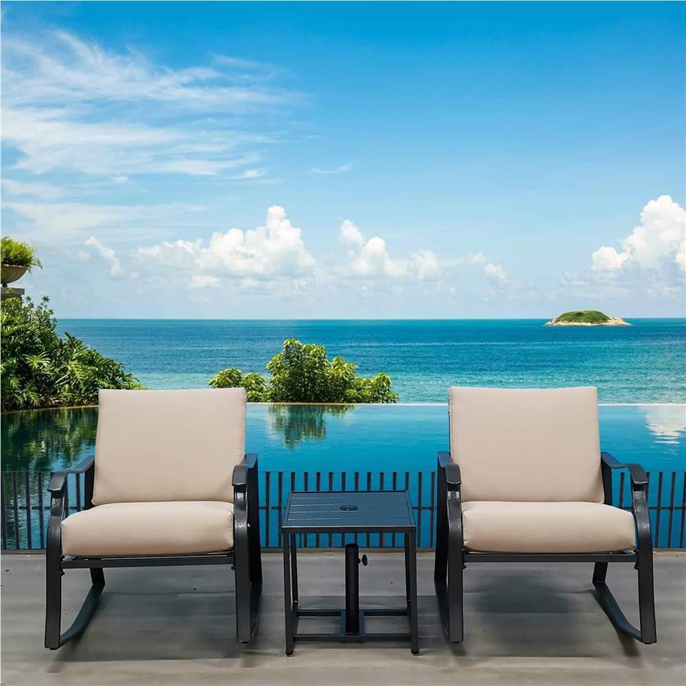 3-delige tuinmeubelset, inclusief 2 schommelstoelen en salontafel, voor tuin, terras, veranda, zwembad, strand - zwart