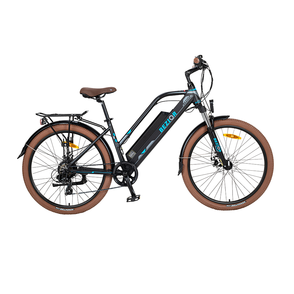 BEZIOR M2 Electric Bike 48V 12.5Ah Battery 250W Бесщеточный двигатель 26-дюймовая шина из алюминиевого сплава Рама Shimano с 7-скоростным переключением Максимальная скорость 25 км / ч 80 км Диапазон пробега с усилителем 5-дюймовый Smart LCD Meter - черный