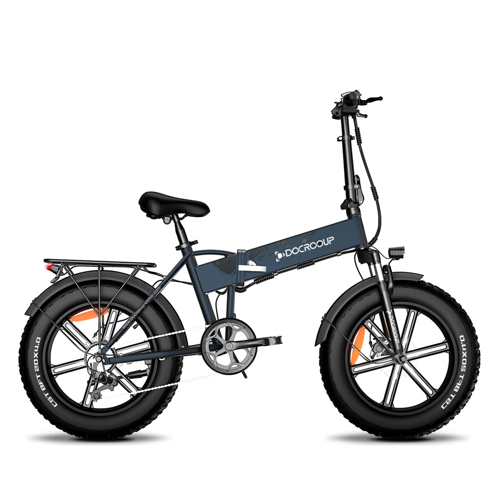 DOCROOUP DS2 Off-road Electric Folding Bike 20*4.0 inch 750W Brushless Motor SHIMANO 7-Speeds Derailleur 48V 11.6Ah Battery 50km/h Max speed Pure power up to 50km Range Aluminum alloy Frame - Slate gray