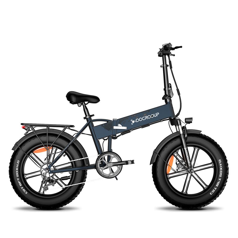 DOCROOUP DS2 Off-road Ηλεκτρικό πτυσσόμενο ποδήλατο 20 * 4.0 ιντσών 750W Μοτέρ χωρίς ψήκτρες SHIMANO 7-Speed Derailleur 48V 11.6Ah Μπαταρία 50km / h Μέγιστη ταχύτητα Καθαρή ισχύς έως 50km Εύρος Κράμα αλουμινίου Πλαίσιο - Γκρι σχιστόλιθος