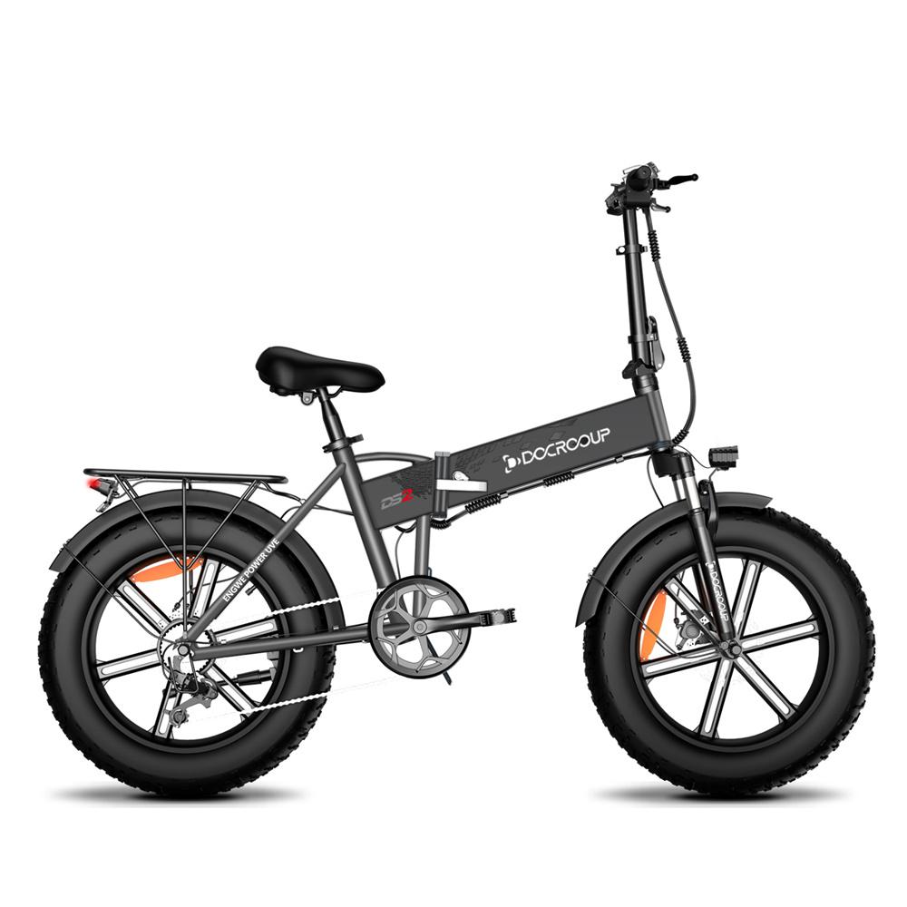 DOCROOUP DS2 Off-road Ηλεκτρικό Πτυσσόμενο Ποδήλατο 20 * 4.0 ιντσών 750W Κινητήρας χωρίς ψήκτρες SHIMANO 7-Speed Derailleur 48V 11.6Ah Μπαταρία 50km / h Μέγιστη ταχύτητα Καθαρή ισχύς έως και 50km Εύρος Κράμα αλουμινίου - Μαύρο