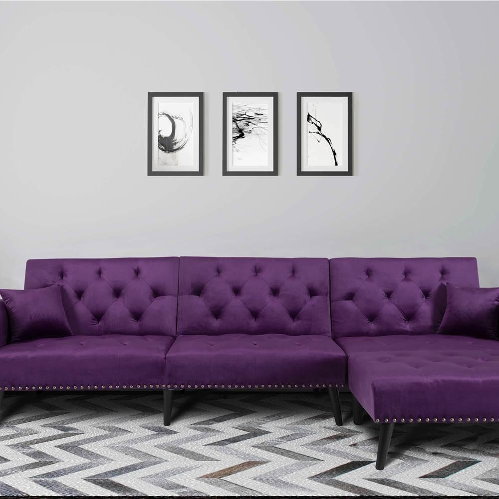 """Sofá cama convertible de 115 """", 4 plazas, tapizado en terciopelo con patas de madera, para sala de estar, dormitorio, oficina, apartamento - Morado"""
