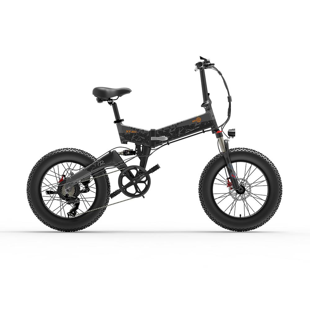BEZIOR XF200 Складной электрический велосипед 48V 15Ah Аккумулятор 1000W Мотор 20x4.0 дюймов Рама из алюминиевого сплава с толстыми шинами Shimano 7-ступенчатая коробка передач Максимальная скорость 40 км / ч 130 км Диапазон пробега с усилителем ЖК-дисплей IP54 Водонепроницаемый - черный