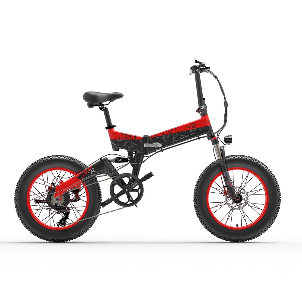 BEZIOR XF200 Fällbar elektrisk cykel 20x4,0 tum 15Ah 1000W svart röd