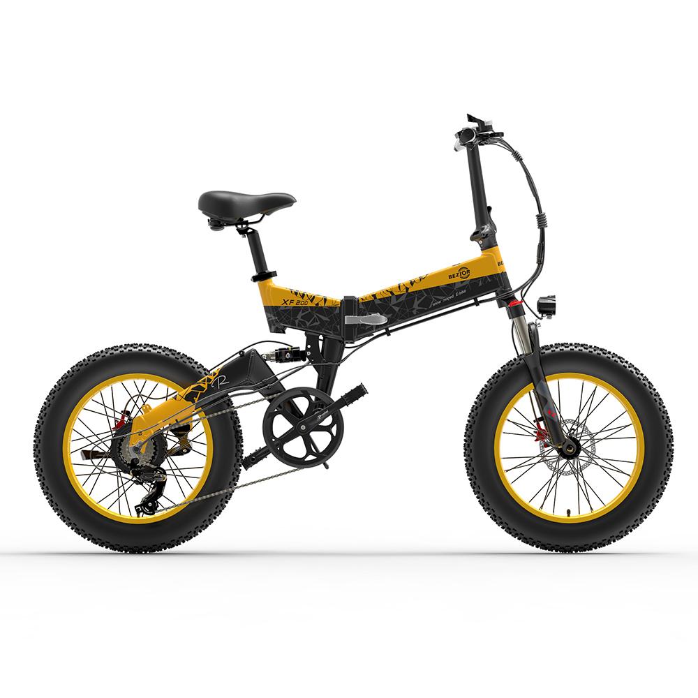 BEZIORXF200折りたたみ式電動自転車48V15Ahバッテリー1000Wモーター20x4.0インチファットタイヤアルミニウム合金フレームShimano7スピードシフト最大速度40km / h130KMパワーアシストマイレージレンジLCDディスプレイIP54防水-ブラックイエロー