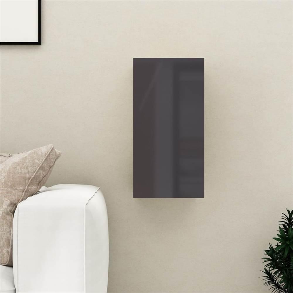 Meuble TV gris brillant 30.5x30x60 cm aggloméré